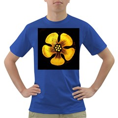 Yellow Flower Stained Glass Colorful Glass Dark T-Shirt
