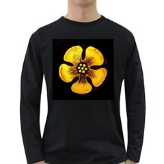 Yellow Flower Stained Glass Colorful Glass Long Sleeve Dark T-Shirts
