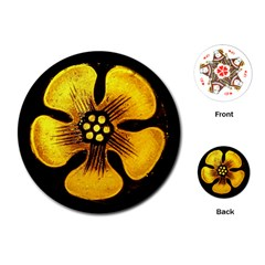 Yellow Flower Stained Glass Colorful Glass Playing Cards (Round)