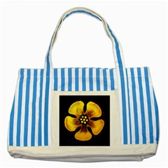 Yellow Flower Stained Glass Colorful Glass Striped Blue Tote Bag