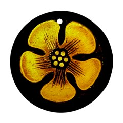 Yellow Flower Stained Glass Colorful Glass Round Ornament (Two Sides)