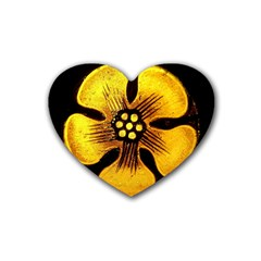 Yellow Flower Stained Glass Colorful Glass Rubber Coaster (Heart)