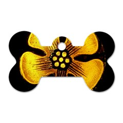 Yellow Flower Stained Glass Colorful Glass Dog Tag Bone (two Sides)