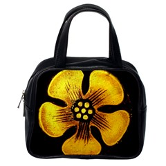 Yellow Flower Stained Glass Colorful Glass Classic Handbags (One Side)