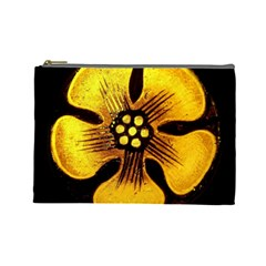 Yellow Flower Stained Glass Colorful Glass Cosmetic Bag (Large)