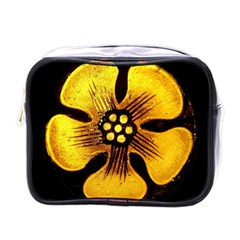 Yellow Flower Stained Glass Colorful Glass Mini Toiletries Bags