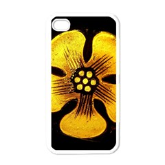 Yellow Flower Stained Glass Colorful Glass Apple Iphone 4 Case (white)