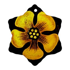 Yellow Flower Stained Glass Colorful Glass Ornament (snowflake)
