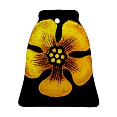 Yellow Flower Stained Glass Colorful Glass Ornament (Bell)