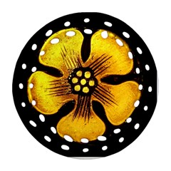 Yellow Flower Stained Glass Colorful Glass Round Filigree Ornament (Two Sides)