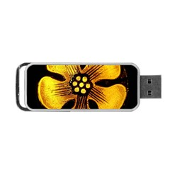 Yellow Flower Stained Glass Colorful Glass Portable USB Flash (Two Sides)