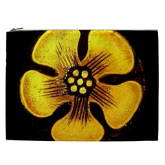 Yellow Flower Stained Glass Colorful Glass Cosmetic Bag (XXL)