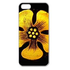 Yellow Flower Stained Glass Colorful Glass Apple Seamless iPhone 5 Case (Clear)