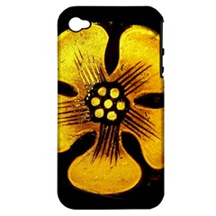 Yellow Flower Stained Glass Colorful Glass Apple Iphone 4/4s Hardshell Case (pc+silicone)