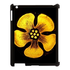 Yellow Flower Stained Glass Colorful Glass Apple iPad 3/4 Case (Black)