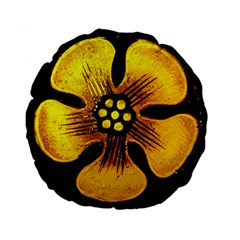 Yellow Flower Stained Glass Colorful Glass Standard 15  Premium Round Cushions