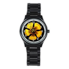 Yellow Flower Stained Glass Colorful Glass Stainless Steel Round Watch