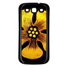 Yellow Flower Stained Glass Colorful Glass Samsung Galaxy S3 Back Case (Black)