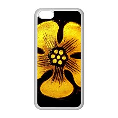 Yellow Flower Stained Glass Colorful Glass Apple iPhone 5C Seamless Case (White)