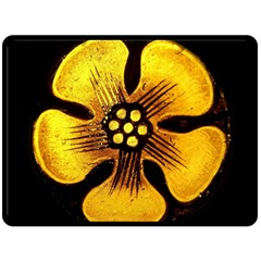 Yellow Flower Stained Glass Colorful Glass Double Sided Fleece Blanket (Large)