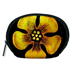 Yellow Flower Stained Glass Colorful Glass Accessory Pouches (medium)