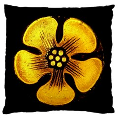 Yellow Flower Stained Glass Colorful Glass Standard Flano Cushion Case (One Side)
