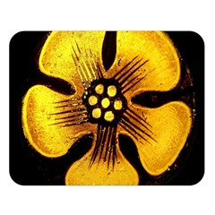 Yellow Flower Stained Glass Colorful Glass Double Sided Flano Blanket (Large)