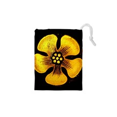 Yellow Flower Stained Glass Colorful Glass Drawstring Pouches (XS)