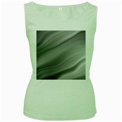 Wave Form Texture Background Women s Green Tank Top