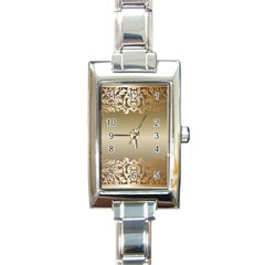 Floral Decoration Rectangle Italian Charm Watch