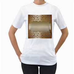 Floral Decoration Women s T-Shirt (White) (Two Sided)