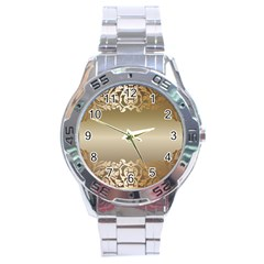 Floral Decoration Stainless Steel Analogue Watch