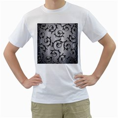 Floral Men s T Shirt (white) (two Sided)