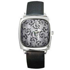Floral Square Metal Watch