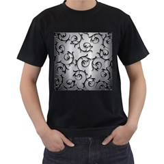 Floral Men s T Shirt (black) (two Sided)
