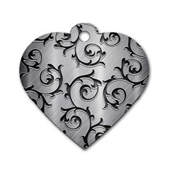 Floral Dog Tag Heart (Two Sides)