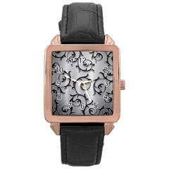 Floral Rose Gold Leather Watch