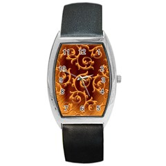 Floral Vintage Barrel Style Metal Watch