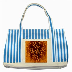 Floral Vintage Striped Blue Tote Bag