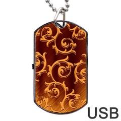 Floral Vintage Dog Tag USB Flash (One Side)