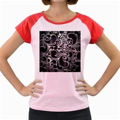 Floral High Contrast Pattern Women s Cap Sleeve T Shirt