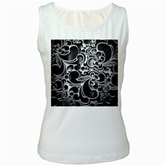 Floral High Contrast Pattern Women s White Tank Top