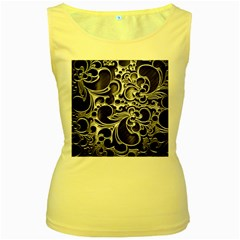 Floral High Contrast Pattern Women s Yellow Tank Top
