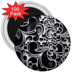 Floral High Contrast Pattern 3  Magnets (100 pack)
