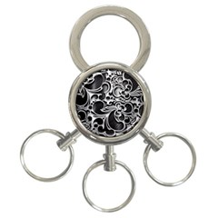 Floral High Contrast Pattern 3-Ring Key Chains