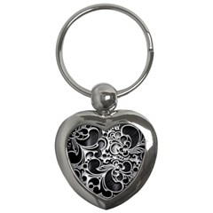 Floral High Contrast Pattern Key Chains (heart)