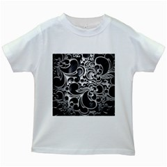 Floral High Contrast Pattern Kids White T-Shirts