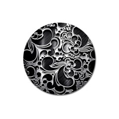 Floral High Contrast Pattern Magnet 3  (Round)