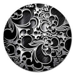 Floral High Contrast Pattern Magnet 5  (Round)