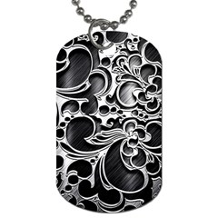 Floral High Contrast Pattern Dog Tag (Two Sides)